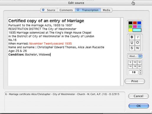 Heredis Mac X.2 - Notes and Transcription